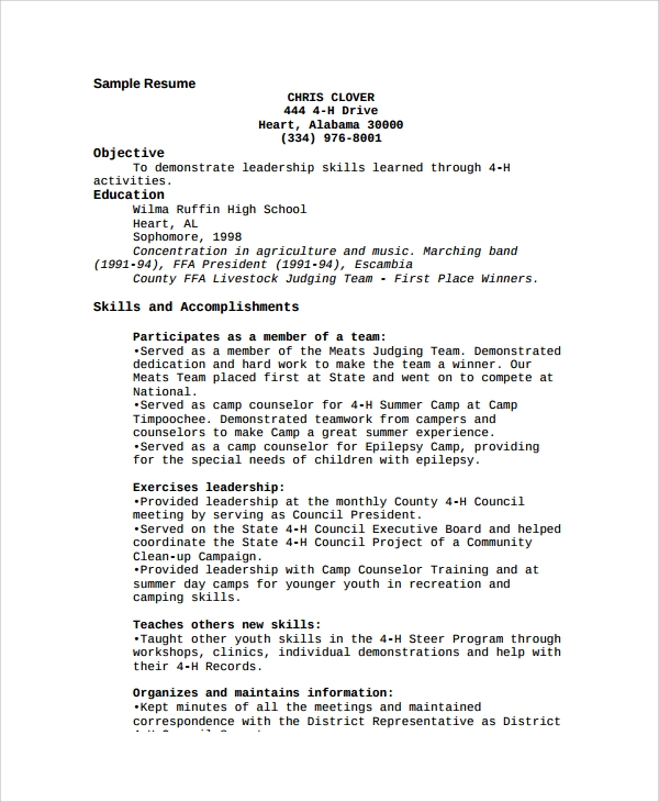 Sample Camp Counselor Resume Templates 6 Free Documents