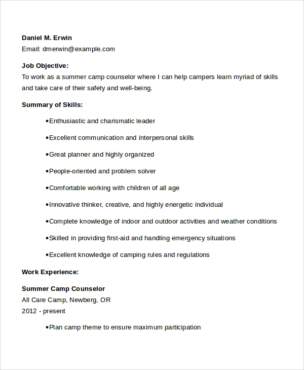 Summer Camp Counselor CV  Camp Counselor Resume