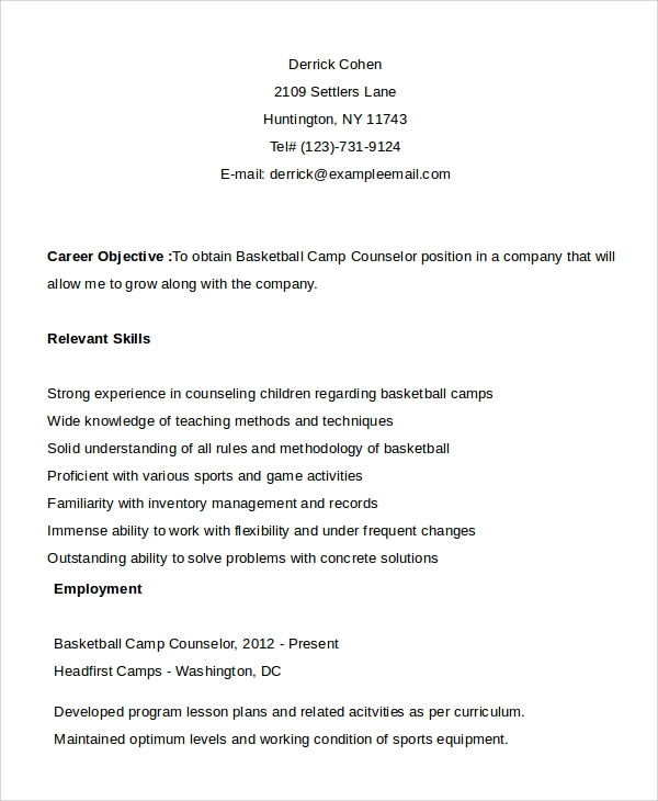 Good Camp Counselor Resume Resume Guidance Resume Cv Cover Letter Career