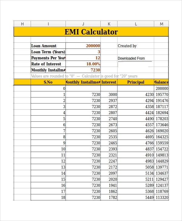 Sample Car Loan Calculator Template   Free Documents Download