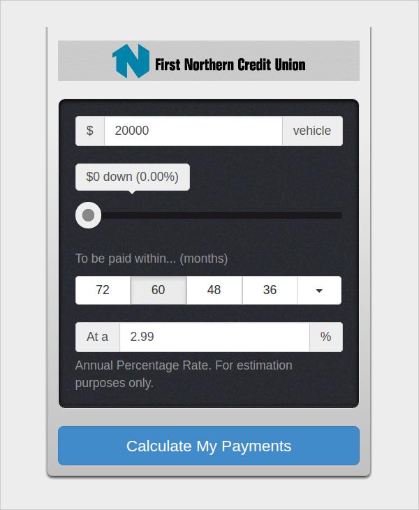 Sample Car Loan Calculator Template