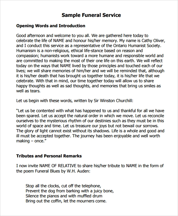 Sample Funeral Program Examples - 9+ Free Documents ...