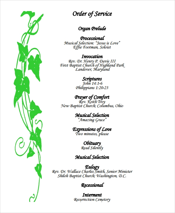Funeral Memorial Program Example  Program For A Funeral