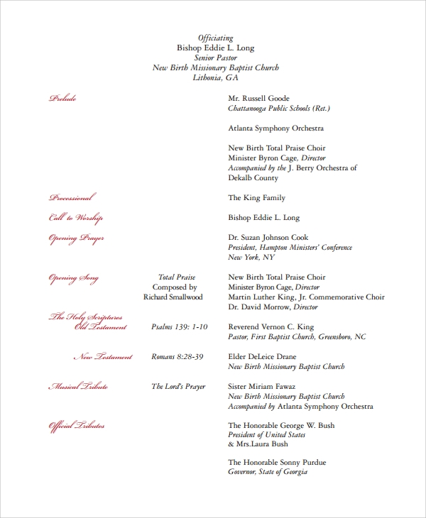 funeral program cover example