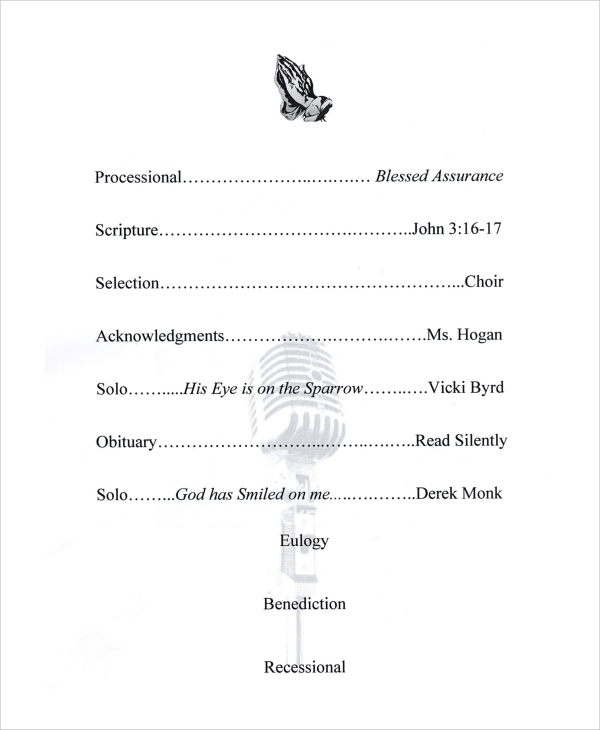 official funeral program example