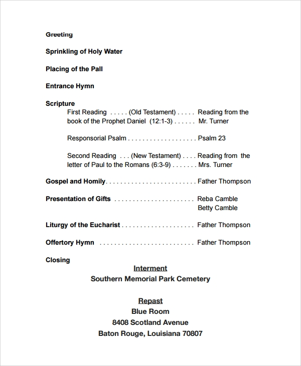 Sample Funeral Program Examples   Free Documents Download In