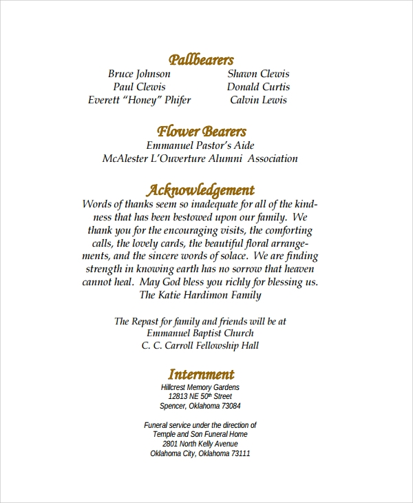 formal funeral program example