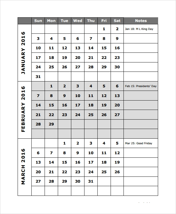 Sample Quarterly Calendar Template   Free Documents Download In