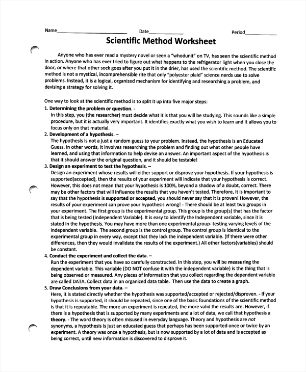 Printables Scientific Method Worksheet sample scientific method worksheet 8 free documents download in pdf
