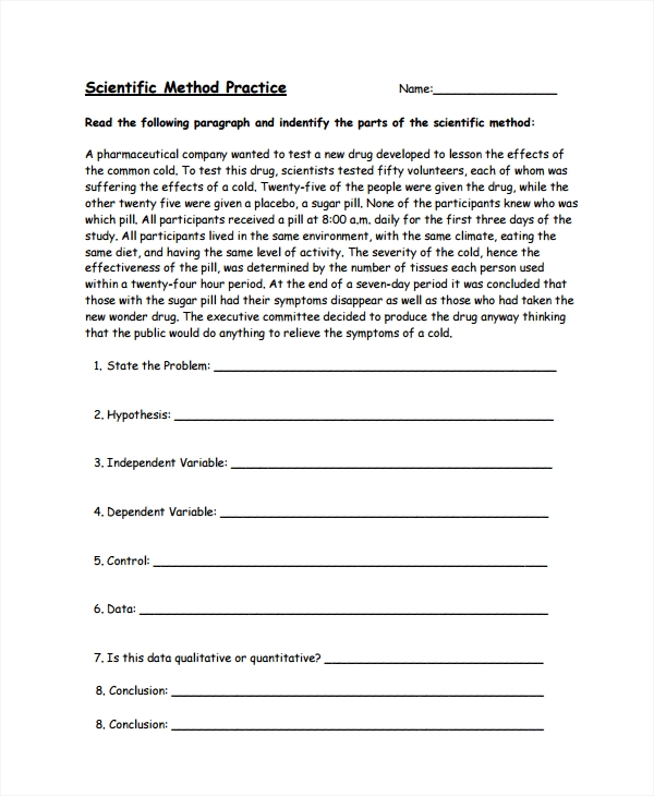 Sample Scientific Method Worksheet   Free Documents Download In