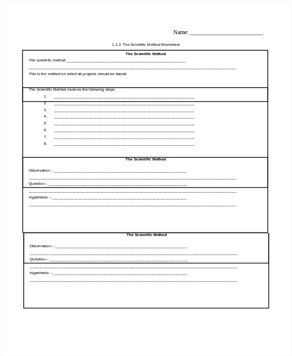 Sample Scientific Method Worksheet 8 Free Documents Download in – The Scientific Method Worksheet