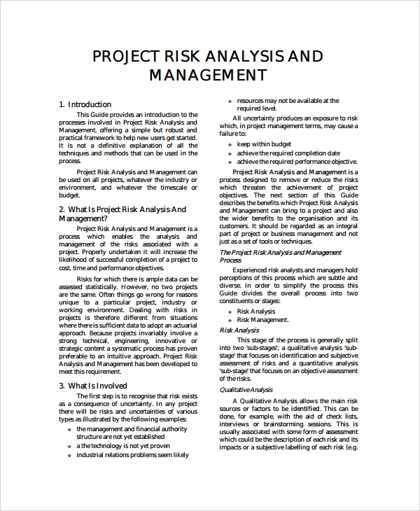 Project risk management master thesis