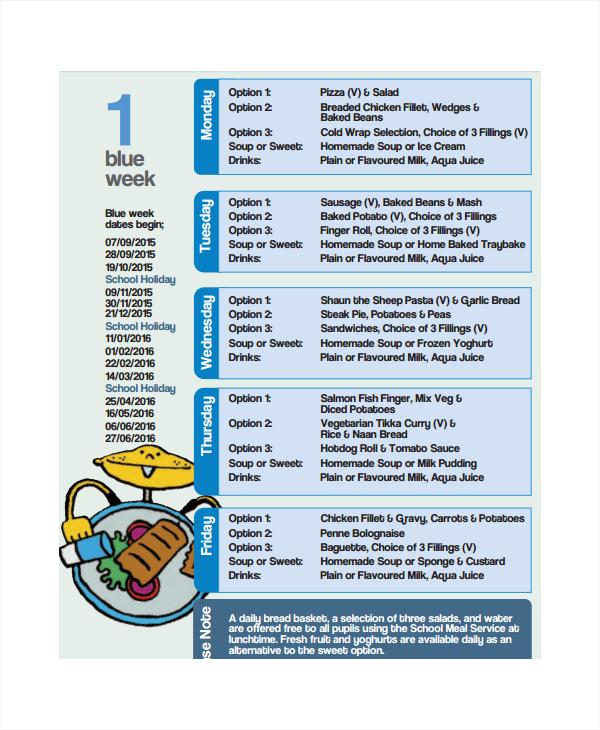 primary school menu template