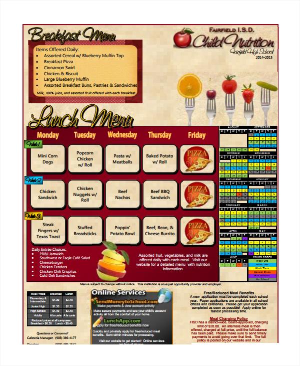 high school menu template