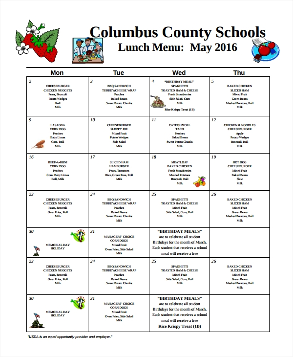 scool lunch menu template