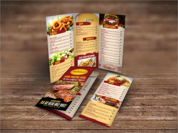 tri fold menu template design