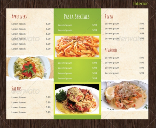 Menu Templates Sample Templates - Take out menu template free