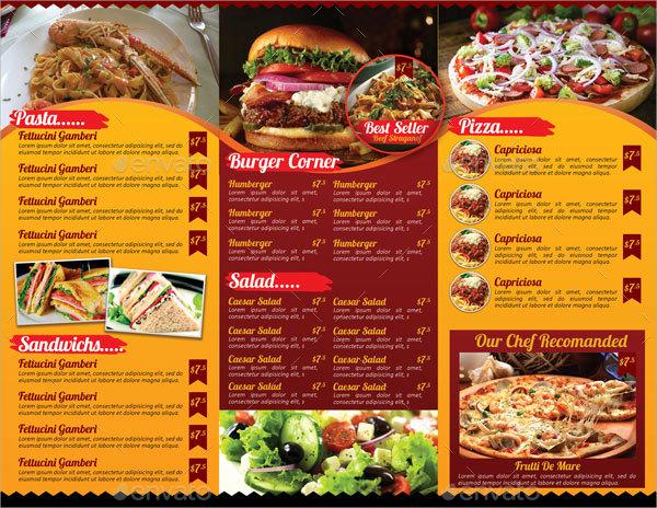 restaurant tri fold menu