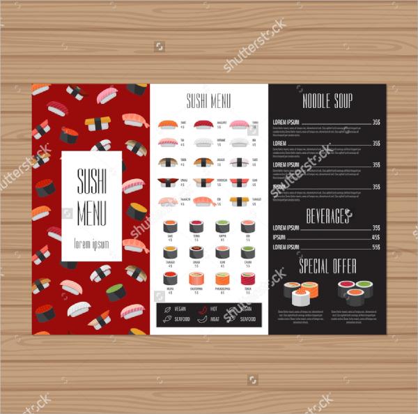 sushi tri fold menu