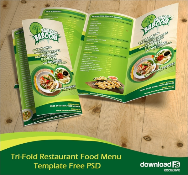 tri fold restaurant food menu template