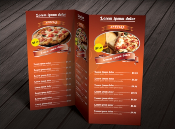 psd tri fold restaurant food menu