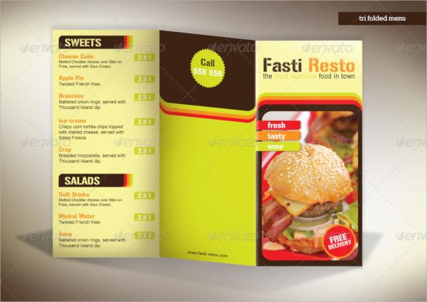 tri fold menu fasti resto