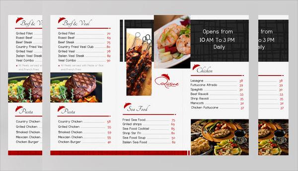 tri fold menu brochure