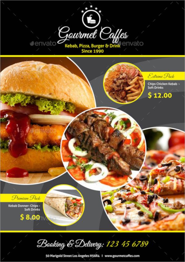 tri fold food menu premium