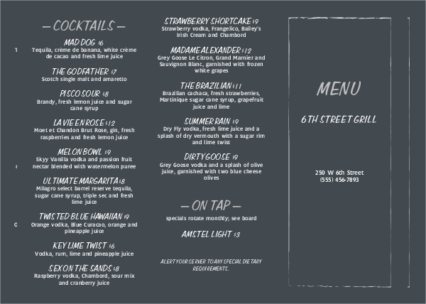 chalkboard bar trifold menu