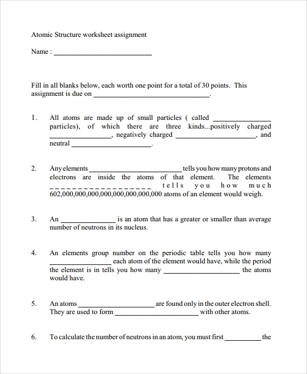Sample Atomic Structure Worksheet 7 Documents in Word PDF – Atom Structure Worksheet