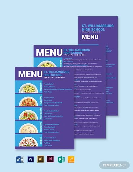 5 day school menu template