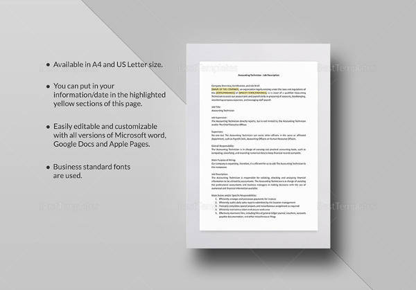 accounting technician job description template