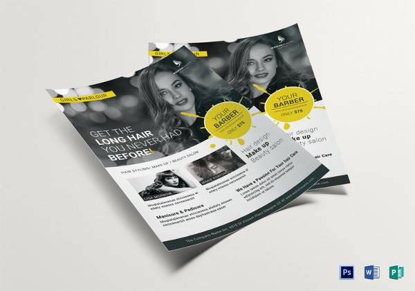 beauty barber flyer template in psd