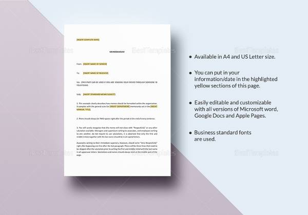 business memo example template