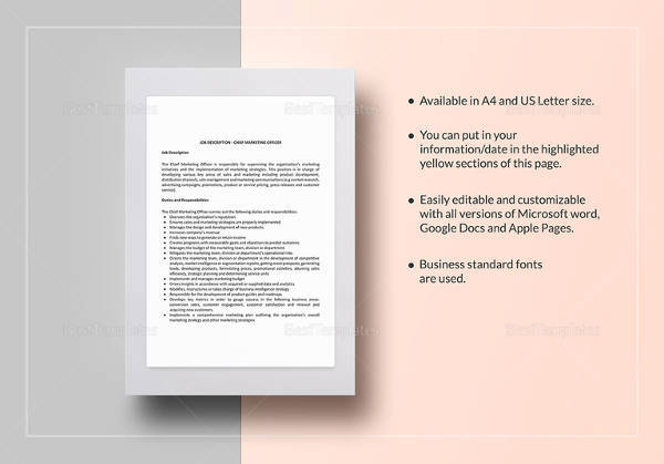 chief marketing officer job description template