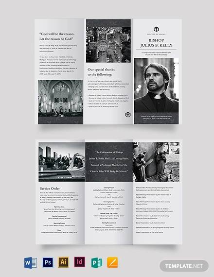 church funeral memorial tri fold brochure template