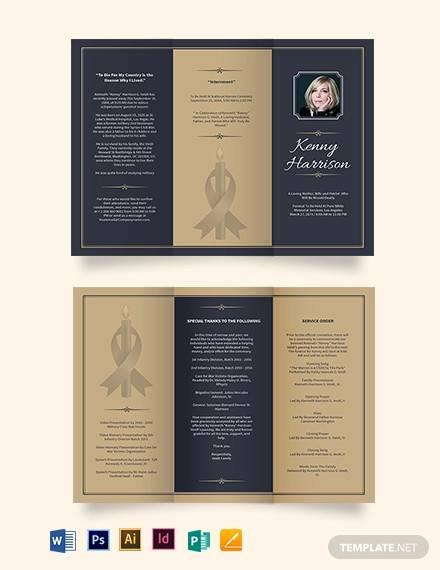 classic funeral memorial tri fold brochure template