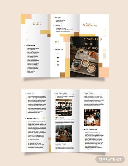 coffee shop tri fold brochure template