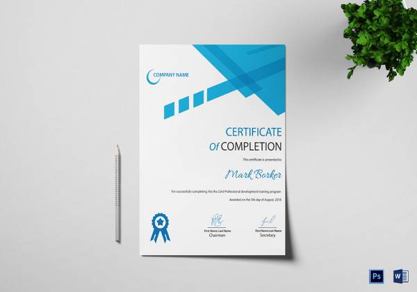 completion certificate word template