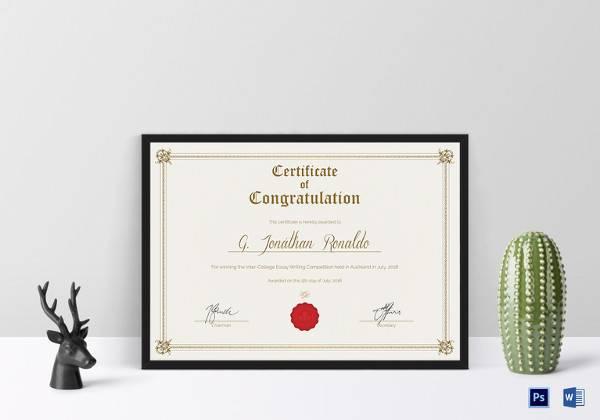congratulations certificate psd template