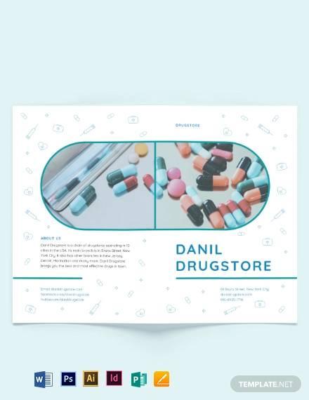 drug brochure bi fold template