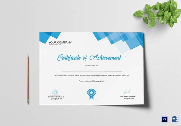 editable achievement certificate template