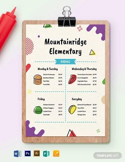 elementary school menu template1