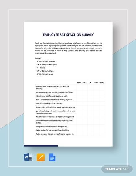 employee satisfaction survey template