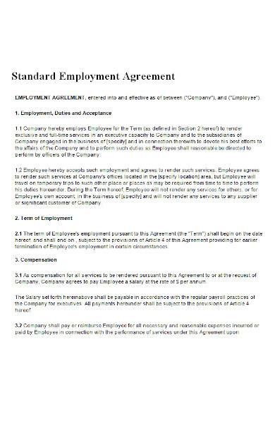 employment agreement form in ms word