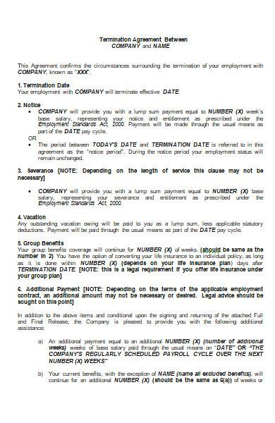 employment termination agreement in ms word