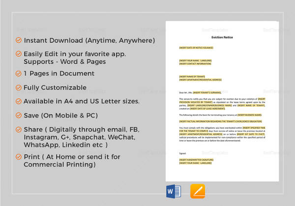 eviction notice template in word