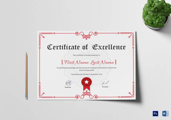 excellence corporate certificate template