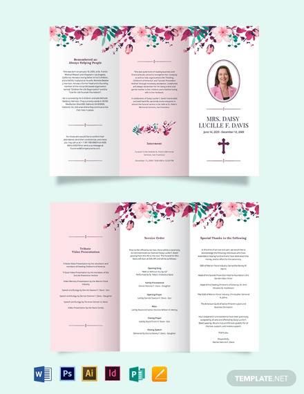 floral funeral memorial tri fold brochure template