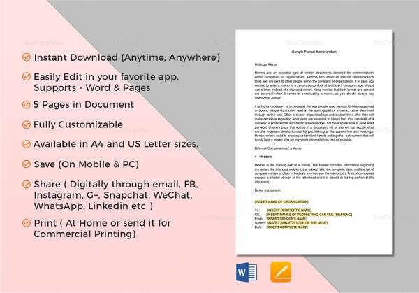 formal memorandum template1